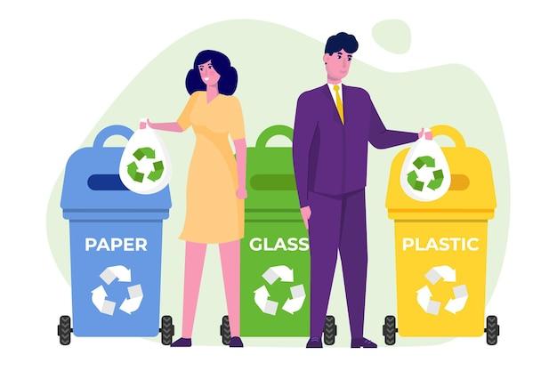 Concetto di rifiuti zero in design piatto