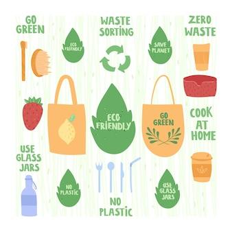 Concetto di rifiuti zero. bottiglie di vetro, piatti riutilizzabili, sacchetti di tessuto.