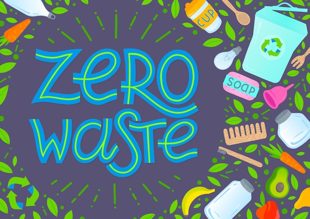 Illustrazione di concetto di rifiuti zero