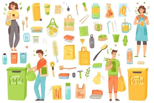 Zero sprechi. gli oggetti e le persone riutilizzabili ecologici separano i rifiuti riciclati. utilizzare una borsa di carta e tessuto, uno spazzolino da denti in legno con bottiglia di vetro, strumenti da bagno in bambù, set isolato piatto vettoriale da cucina ecologica