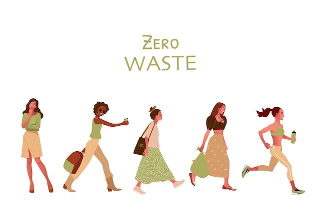Rifiuti zero o concetto di ecologia illustrazioni disegnate a mano isolati su sfondo bianco.