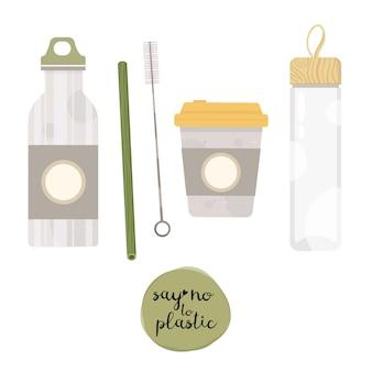Matraccio sottovuoto a zero rifiuti, flacone in vetro, cultery. senza plastica. diventa verde. Vettore Premium