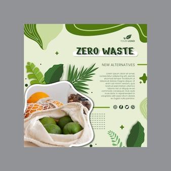Modello quadrato per volantino zero rifiuti