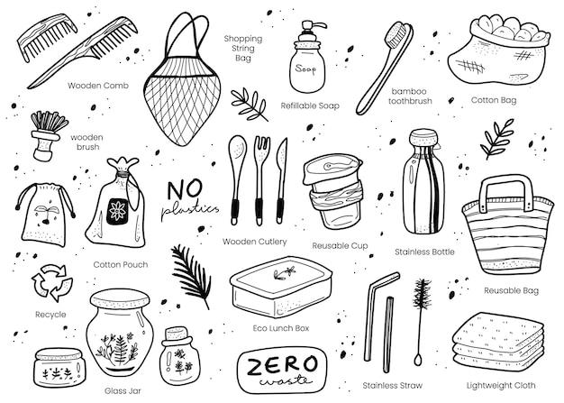 Zero waste elementi doodle disegnati a mano