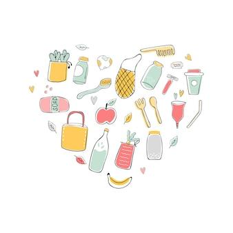 Illustrazione disegnata a mano di zero rifiuti con icone eco. disegno del manifesto