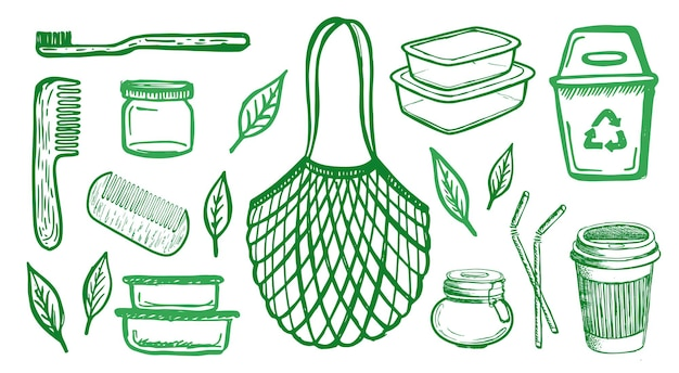Illustrazione disegnata a mano di zero rifiuti