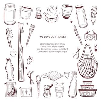 Fondo infographic disegnato a mano di rifiuti zero. raccolta di elementi naturali ed eco