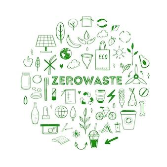 Insieme disegnato a mano di stile di vita dei rifiuti zero raccolta di elementi ecogici e naturali