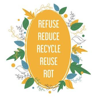 Regole di stile di vita zero rifiuti. protezione del pianeta, cura dell'ambiente.