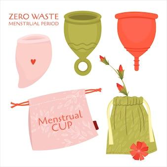 Periodo mestruale zero sprechi. set piatto con prodotti ecologici - tazza, sacchetti di cotone per riciclare.