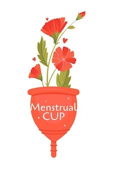 Periodo mestruale zero sprechi. set piatto con prodotti ecologici - tazza.
