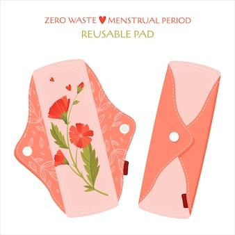 Periodo mestruale zero sprechi. set piatto con prodotti ecologici - assorbenti mestruali in cotone riutilizzabili.