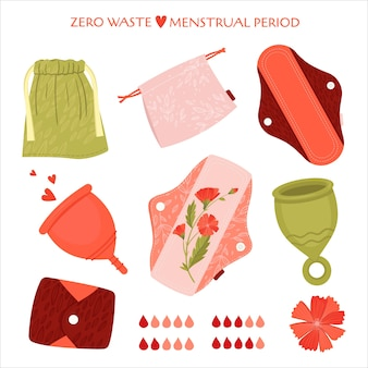 Periodo mestruale zero sprechi. set piatto con prodotti eco-compatibili - assorbenti mestruali riutilizzabili, tazza, sacchetti di cotone per riciclare.