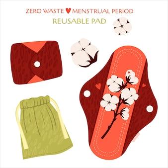 Periodo mestruale zero sprechi. set piatto con prodotti ecologici - assorbenti mestruali riutilizzabili e sacchetti di cotone per il riciclaggio.