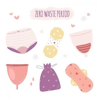 Set di prodotti periodo zero rifiuti