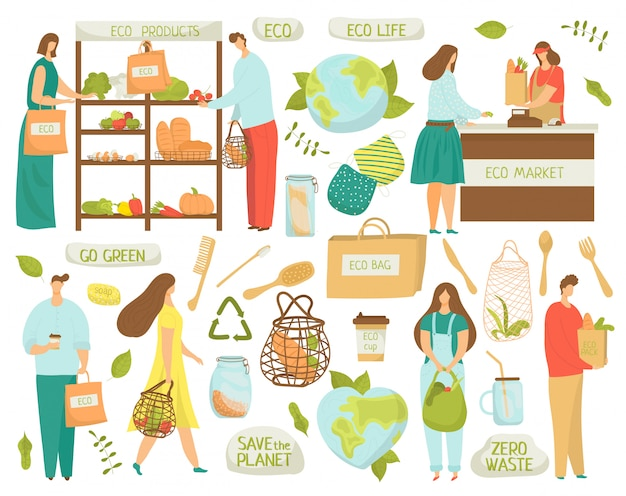 Zero rifiuti, riciclo, elementi eco di ridurre i simboli di plastica, illustrazioni di vita ecologica su bianco. niente plastica, diventa verde e zero rifiuti, prodotti di mercato biologici, sacchetti riutilizzabili.