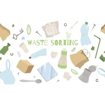 Modello senza sprechi zero. smistamento dei rifiuti. concetto di ecologia.