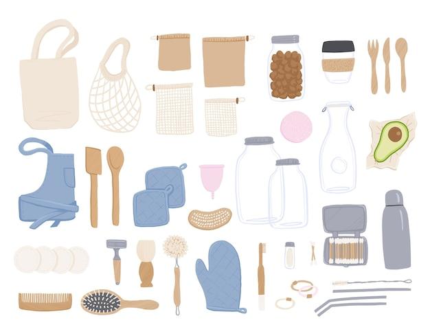 Insieme di oggetti zero rifiuti.