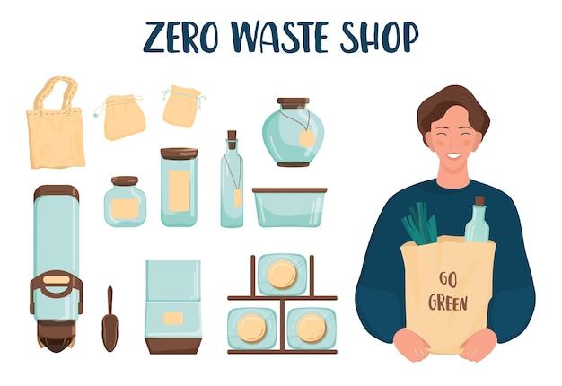 Set negozio zero rifiuti. dispenser per prodotti sfusi, vaso in vetro e sacchetto in tessuto. vendita di prodotti a peso. negozio di alimentari senza confezione di plastica. su bianco.