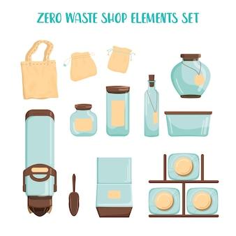 Set negozio zero rifiuti. dispenser per prodotti sfusi, vaso in vetro e sacchetto in tessuto. vendita di prodotti a peso. negozio di alimentari senza confezione di plastica.