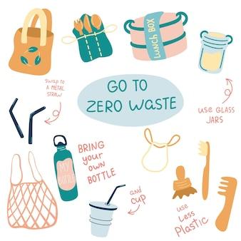 Set di illustrazioni vettoriali zero rifiuti articoli o prodotti durevoli e riutilizzabilinessuna plastica