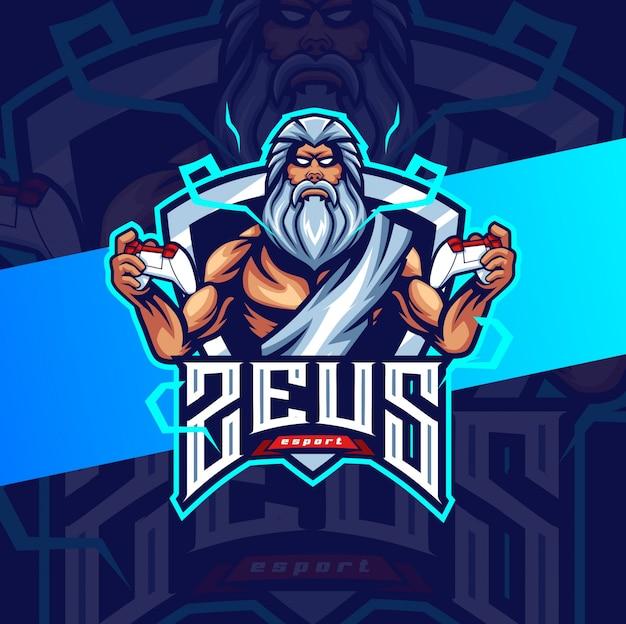 Zeus mascotte da gioco esport logo design