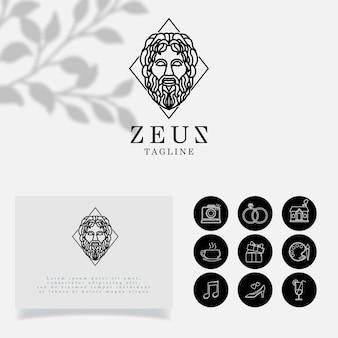 Modello modificabile con logo zeus lineart minimalist