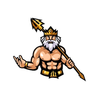 Illustrazione del design del logo della mascotte di zeus
