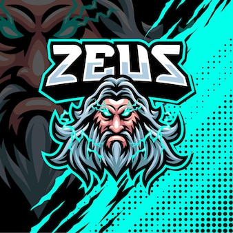 Zeus mascotte logo design illustrazione