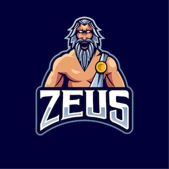 Design del logo mascotte zeus con stile moderno concetto di illustrazione