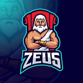 Design del logo della mascotte di zeus zeus siede sul trono per il team di gioco esport