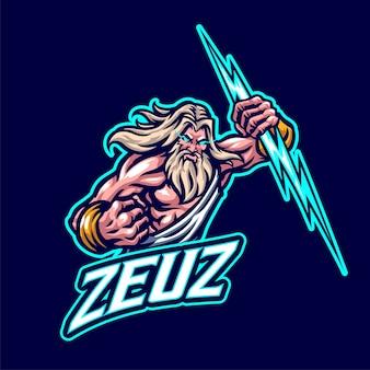 Logo mascotte zeus per esports e squadra sportiva