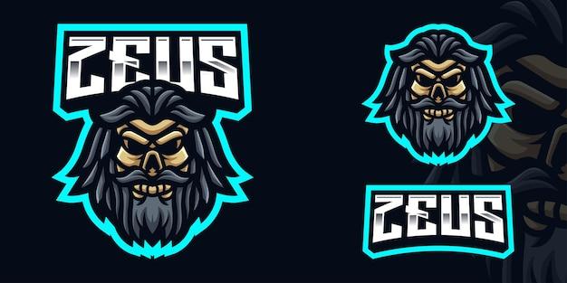 Zeus skull gaming mascot logo template per esports streamer facebook youtube