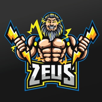 Zeus thunder gods mascot sport illustration design per logo esport gaming team squad