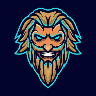 Zeus thunderbolt god mascot head logo template