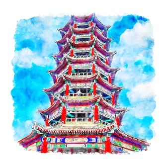 Illustrazione disegnata a mano di schizzo dell'acquerello della cina di zhengding town