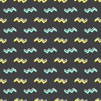 Motivo a zigzag, sfondo geometrico astratto in stile retrò anni '80 e '90. illustrazione geometrica colorata