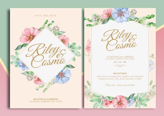 Carta dell'invito di nozze dell'illustrazione dell'acquerello di zinnia florals con la disposizione del testo
