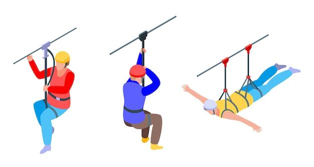 Set di icone di linea zip, stile isometrico