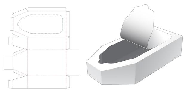 Modello fustellato di scatola a forma di barca con cerniera