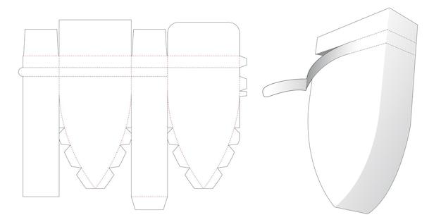 Modello fustellato per l'imballaggio del pilone inferiore con cerniera