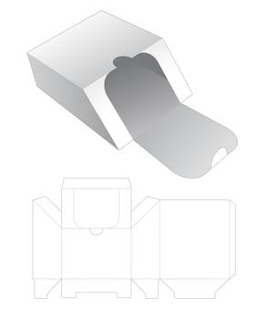 Modello fustellato per scatola al dettaglio smussata con cerniera