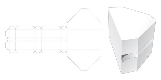 Modello fustellato di scatola a forma di diamante con chiusura lampo