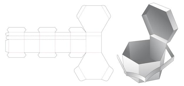 Modello fustellato di scatola esagonale con cerniera