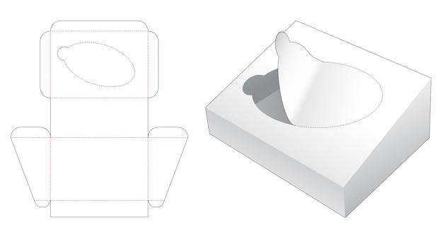 Modello fustellato per imballaggi inclinati con cerniera