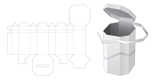 Modello fustellato a forma di scatola ottagonale alta con cerniera