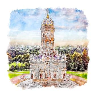 Illustrazione disegnata a mano di schizzo dell'acquerello di znamenskaya chiesa mosca russia