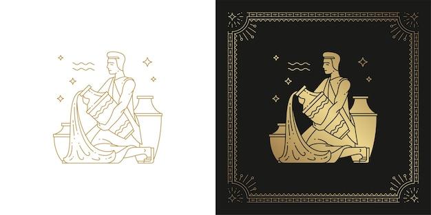 Zodiaco acquario oroscopo segno line art silhouette design illustrazione