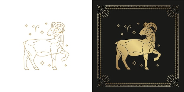 Zodiaco ariete oroscopo segno line art silhouette design illustrazione