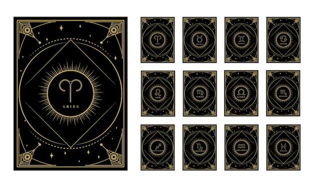 Carte zodiacali con segni carte oroscopo con stelle raggi disegno geometrico decorativo schizzo zodiaco